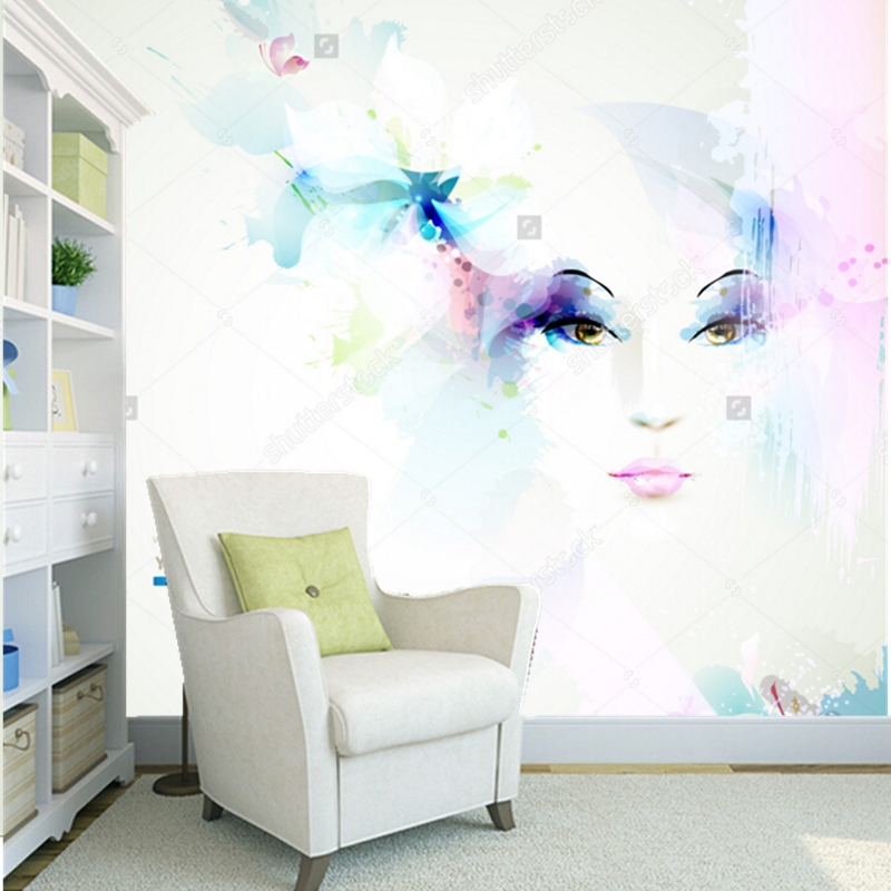 Custom modern wallpaper,women face with flowers,3D photo mural for living room clothing store barber shop wall papel de parede