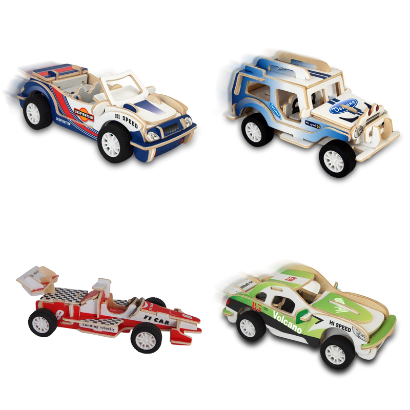 1 set children diy intelligence cars assembly model pull back racing 3d car puzzles educational toys