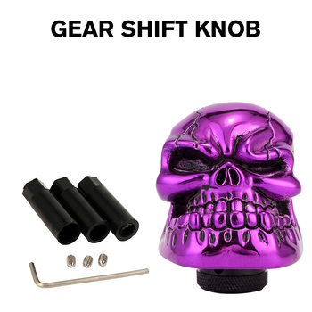 Neverland สีม่วง Universal คู่มือเกียร์เกียร์ Shifter Lever Knob Wicked แกะสลักเรซิ่นหัตถกรรม Skull เกียร์ Shift Knob สำหรับ Auto Car d45
