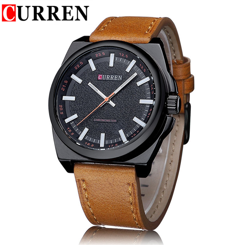 New Curren Brand Men's Watch Military Army Man Quartz Watch Leather Band Analog Clocks Fashion Casual Mens Wristwatch For Gift 2016 hot sell sinobi brand leather strap watch for mens man fashion style quartz military waterproof wristwatch wholesale
