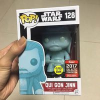 2017 Exclusive Glow in the dark Funko pop Original Star Wars Qui Gon Jinn (Holographic) Vinyl Figure Collectible Model Toy