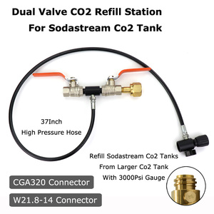 Image 2 - Новинка Sodastream Deluxe двойной клапан CO2 заполняющая станция зарядный адаптер с манометром 3000PSI 37 дюймовый шланг CGA320 & W21.8 14