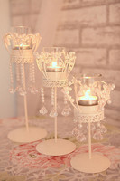 Home Decoration crystal candle holder metal crystal beads candle holders wedding candlestick photo props display decoration