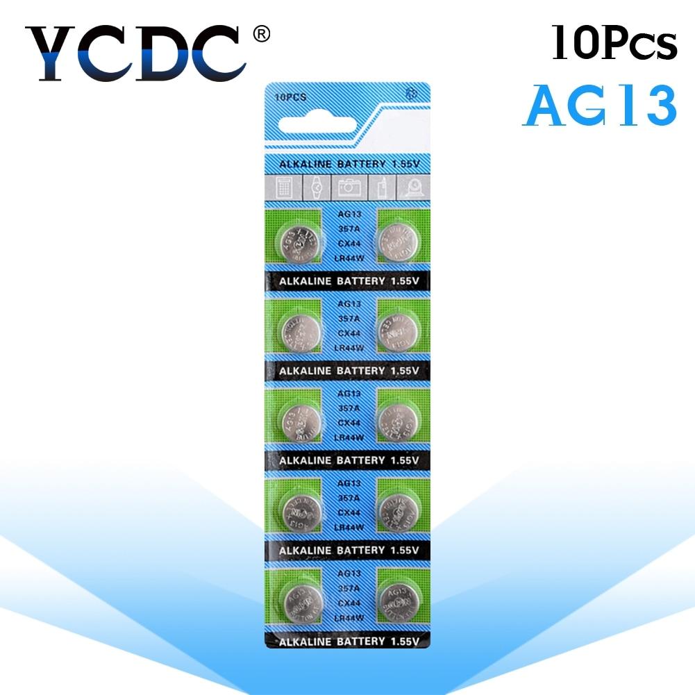 10 unidades/pacote ag13 lr44 357 baterias de botão r44 a76 sr1154 lr1154 pilha moeda alcalina bateria 1.55 v g13 para brinquedos de relógio remoto