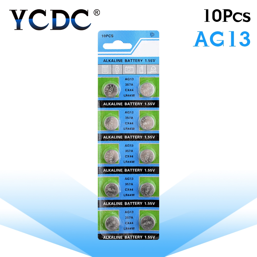 10pcs/pack AG13 LR44 357 Button Batteries R44 A76 SR1154 LR1154 Cell Coin Alkaline Battery 1.55V G13 For Watch Toys Remote 10pcs ag7 lr927 lr57 sr927w 399 gr927 395a 1 55v button cell coin battery batteries for watch toys remotes