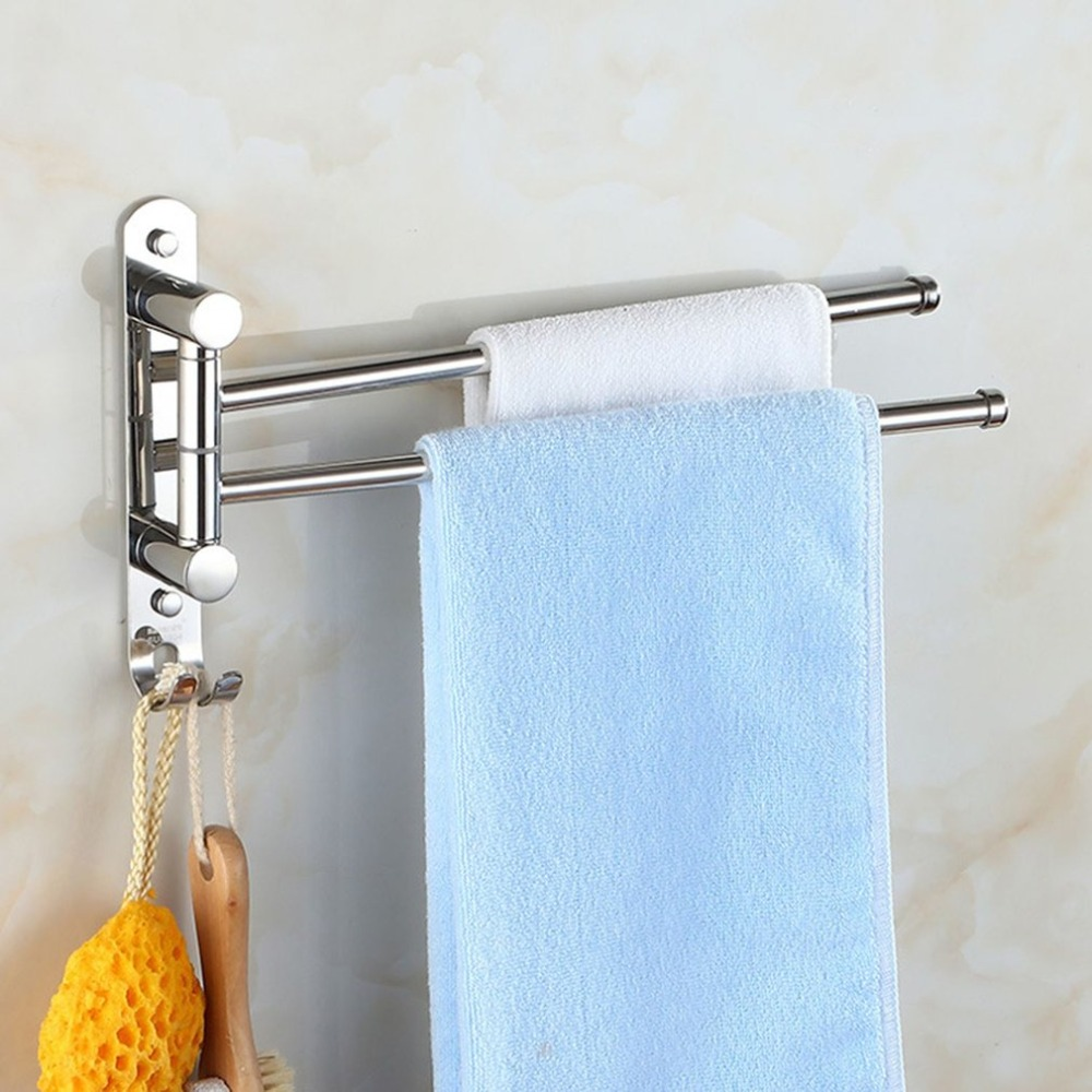 Stainless Steel Towel Bar Rotating Towel Rack Bathroom Multifunctional Washroom Towel Rack Wall Mounted Hanging Bar Storage Rod ремнабор для сетки палаток msr mesh repair kit