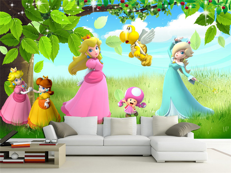 Us 1386 34 Off3d Mural Kids Room Sofa Bedroom Cartoon Anime Princess Tv Background Wallpaper Seamless Wall Cloth Wallpaper In Wallpapers From Home