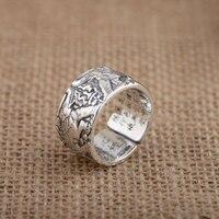 FNJ 925 Silber Elephant Ring Liebhaber 100% Echt S925 Thai Silber Ringe für Frauen Männer Schmuck Einstellbare Größe