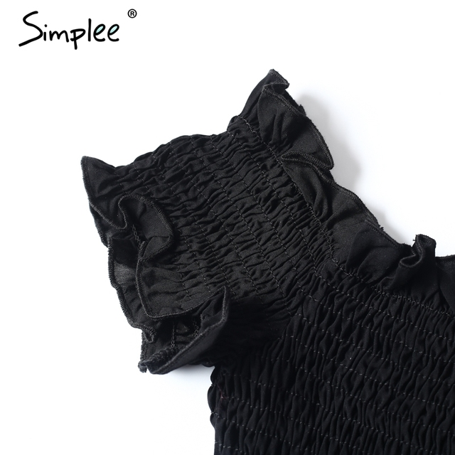 Simplee Sexy off shoulder black crop top Women summer slim ruffle short sleeve bustier top tees Party white camisole tank top