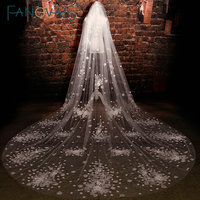 Luxury Cut Edge Sequins Beaded Appliques Handmade Flowers Tulle Cathedral Bridal Veil velo novia largo Wedding Veils 2016