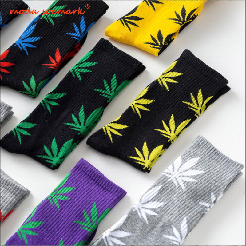 Moda Socmark Funny Socks Men Comfortable High Quality Cotton Happy Hemp Leaf Maple Casual Long Weed Crew Sock Dress Harajuku