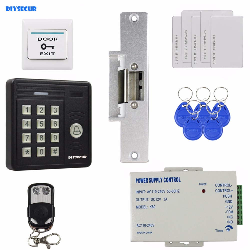 DIYSECUR Waterproof 125KHz Rfid Card Reader Password Keypad + Strike Lock + Remote Control Access Control Security Kit KS159 original access control card reader without keypad smart card reader 125khz rfid card reader door access reader manufacture