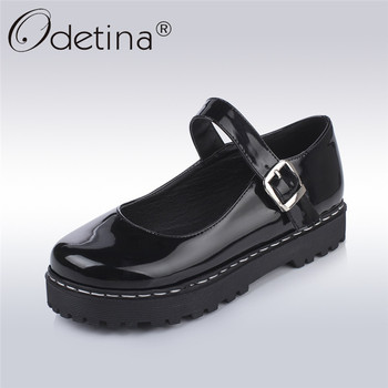 Odetina 2018 New Fashion Platform Mary Jane Shoes Women's Flat Shoes Buckle Strap Sweet Lolita Flats Round Toe Big Size 34-43