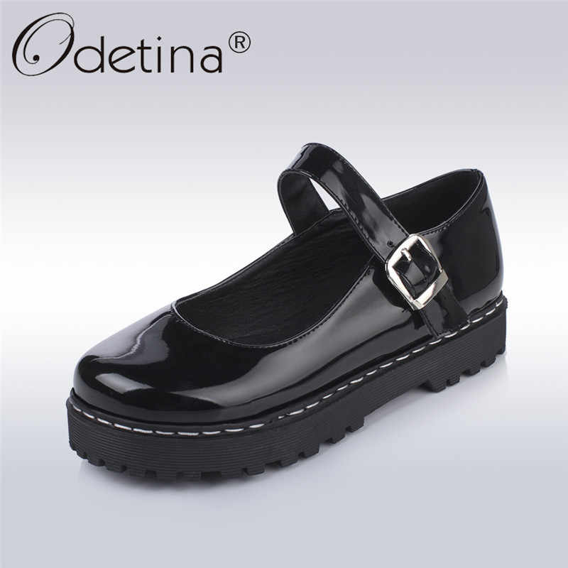 e180145dbd48 Odetina 2018 New Fashion Platform Mary Jane Shoes Women s Flat Shoes Buckle  Strap Sweet Lolita Flats