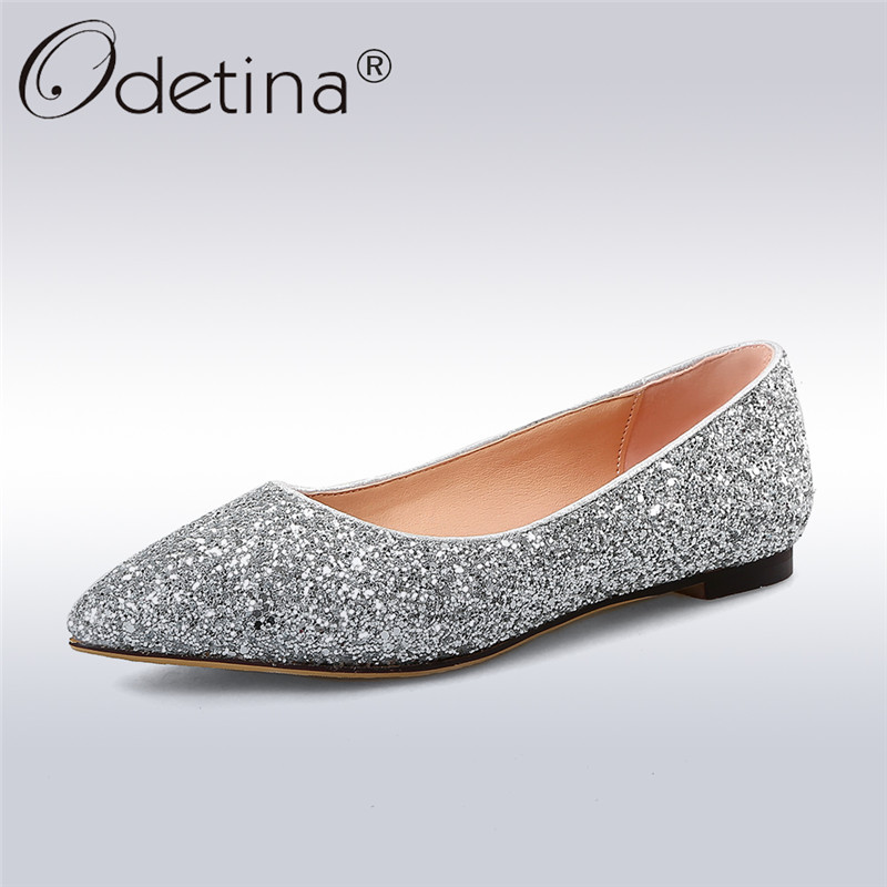 Odetina 2018 New Fashion Women Sequined Cloth Ballet Flats Slip On Pointed Toe Casual Shoes Bling Solid Flat Shoes Big Size 43 meotina women flat shoes ankle strap flats pointed toe ballet shoes two piece ladies flats beading causal shoes beige size 34 43