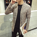 Hot Sale 2017 Knitted Sweater Men Casual Slim Fit Fashion Solid Long Cardigan Men Outwear M-5XL (Asian Size)
