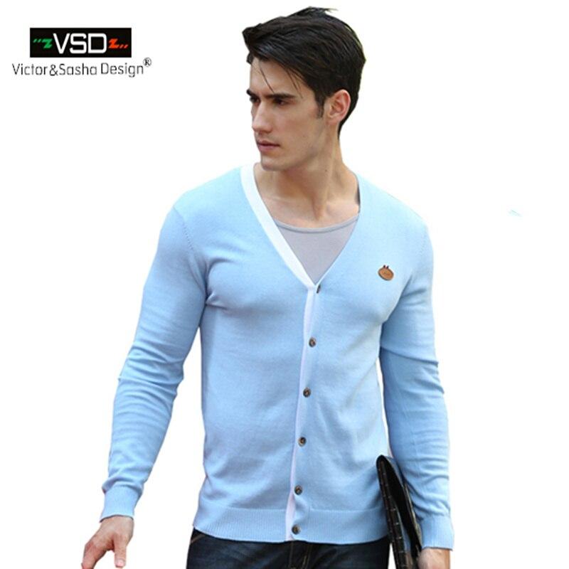 Victor&Sasha Design 2017 Autumn Winter New Slim Cardigan V-Neck Casual Dress Men's Sweaters Brand VSD