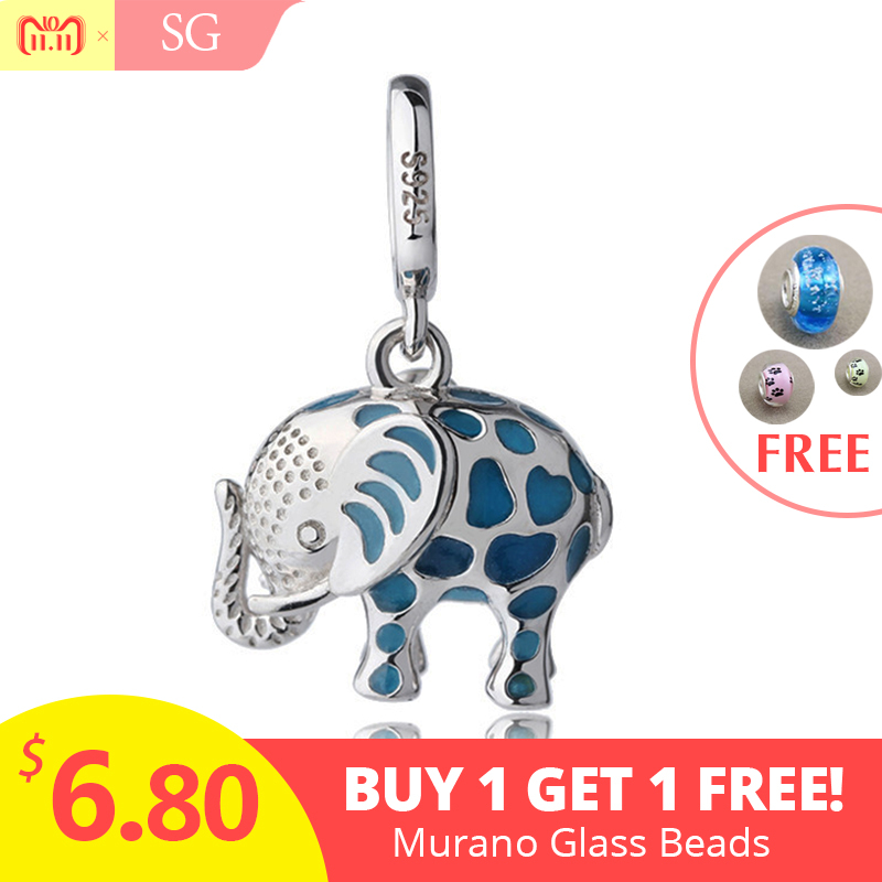 все цены на Fit authentic pandora charms Bracelet silver 925 cute glowing elephant pendant beads with enamel diy jewelry making women Gifts