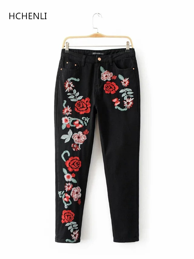 HCHENLI Brand Spring Harem Pants Embroidery Flower Women Blue Black Jeans Female Pencil Pants Ladies High Waist Clothing 2017 flower embroidery jeans female blue casual pants capris 2017 spring summer pockets straight jeans women bottom a46