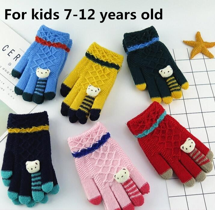 child thicken thermal knitted winter gloves childen gilrs. Black Bedroom Furniture Sets. Home Design Ideas