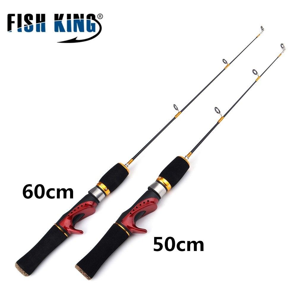 FISH KING 1PC 50CM/60CM Mini Winter Ice Fishing Rod Lightweight Fiberglass Spinning Casting Fishing Rod Pole