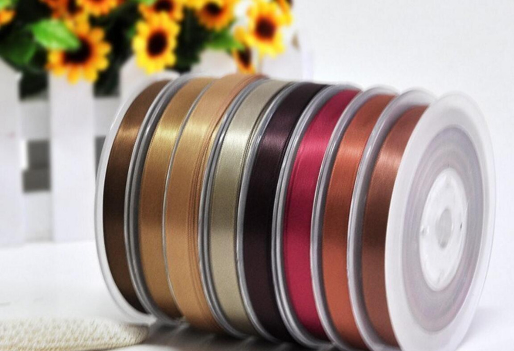 16mm wonderful Fabulous dark brown series double face satin ribbons 100yards/roll children Hair Bow DIY wedding gift package