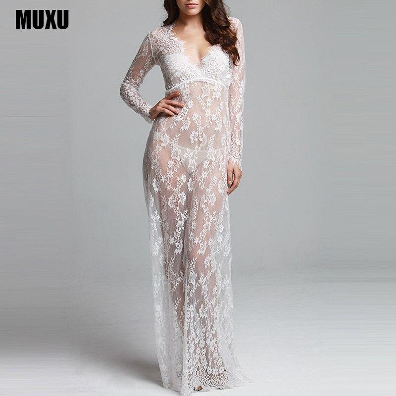 Muxu lace dress mujer vestido branco moda femenina sexy transparente dress negro