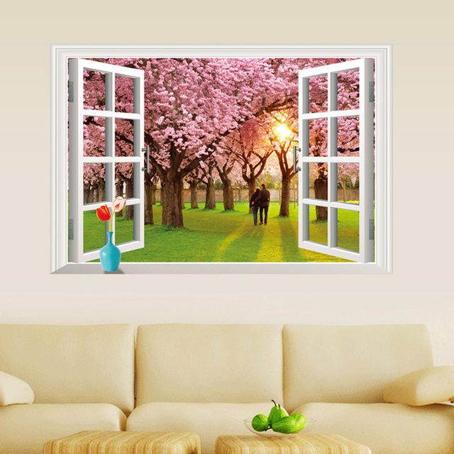 3D Sunset Cherry Flowers Tree Fake Window Wall Decal Home Sticker Paper Art  Picture DIY Murals