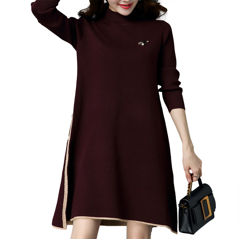 Autumn winter Women loose knitted dress with breastpin fashion trend splicing long sleeve stand collar woman long sweater HM990