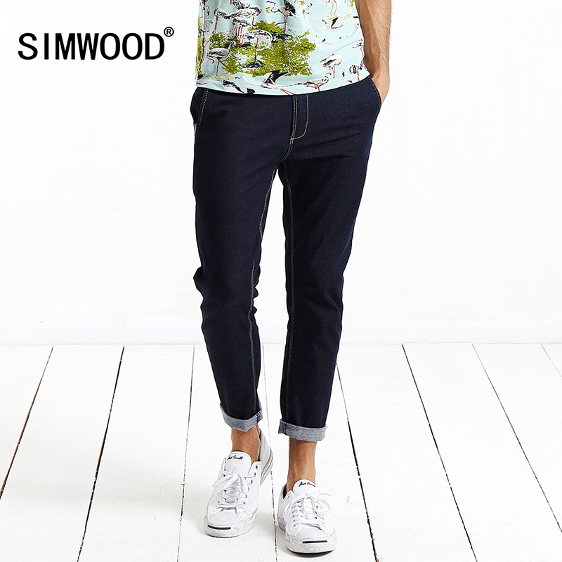 2017 New Arrival Simwood Brand Men Jeans Clothing Denim Ankle-Length Pants Slim Fit Trousers Plus Size Free Shipping SJ6014 2017jeans men new arrival brand clothing blue slim fit casual stretch denim pants high quality plus size free shipping