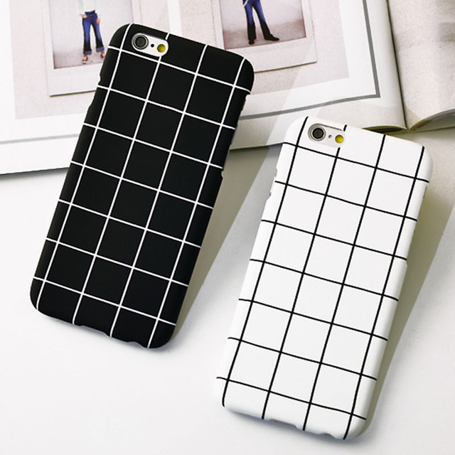 new style 850e2 3c1d6 US $3.44 |Black White Grid Coque For iPhone 8 8 Plus Fashion Plaid Phone  Cases For iPhone 5 5s 6 6s 6 Plus 6s Plus 7 7 Plus Fundas Capa on ...