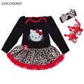 Hello Kitty Девушка Новорожденный Одежда Leopard Младенческой Кружева Пачки Оголовье Обувь Партия Девушки Одеваются Vestido Bebe Младенческой Одежды