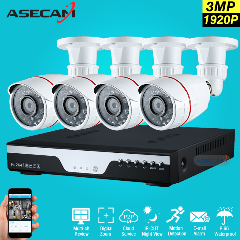 New 4ch 1920p full hd Surveillance CCTV DVR H.264 Video Recorder AHD Outdoor Mini Bullet 3mp Security Camera System Kit new arrival super 3mp hd 1920p ahd camera security cctv white metal bullet video surveillance outdoor waterproof 36pcs infrared