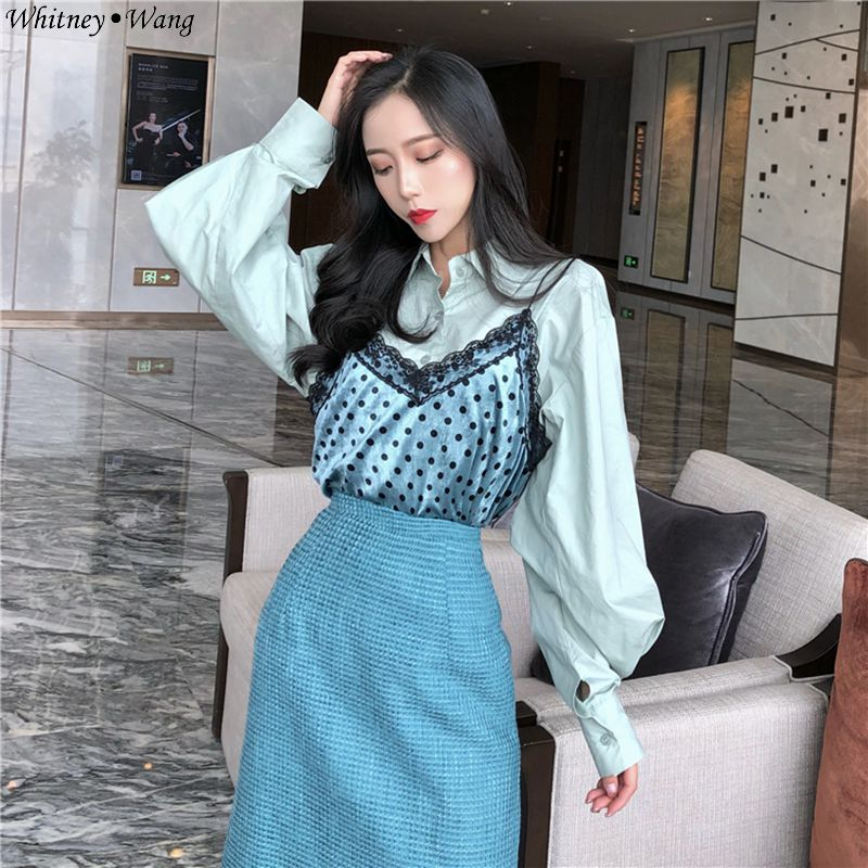 Multi Femmes Style Dot Printemps 2019 Bureau Chemise Automne Lady Wang Blouse Patchwork Camisoles Blusas 2 Mode Whitney Pièces Polka Vintage 56wqHYnC