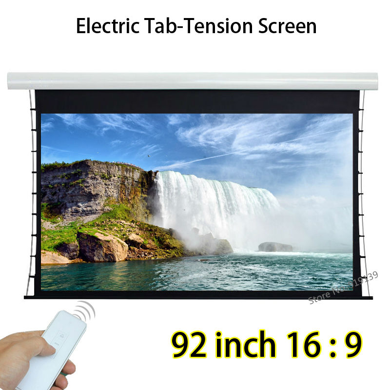Flat Surface Tab Tension HD Projection Screen 92inch 2037x1145mm Viewable With 12V Trigger For Office Education low price 92 inch flat fixed projector screen diy 4 black velevt frames 16 9 format projection for cinema theater office room