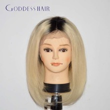 2016 best selling 7A virgin ombre two tone blonde brazilian lace front bob wigs glueless full lace human hair wigs bob straight