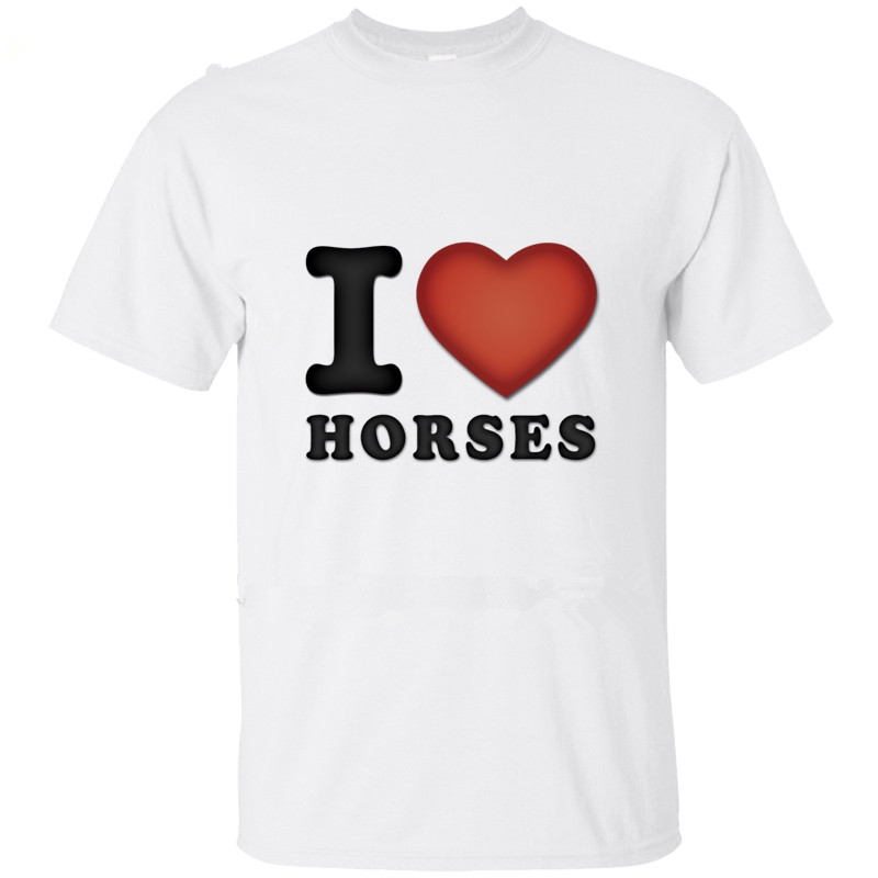 Personality Classic Cotton Men Round Collar Cartoon Clothes Farm Animal Love Horses No buckle t-shirt