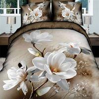 White Tulips Bedding Set Queen Elegant 3d Flowers Doona Bed Sheet Duvet Quilt Covers Girl Bedclothes