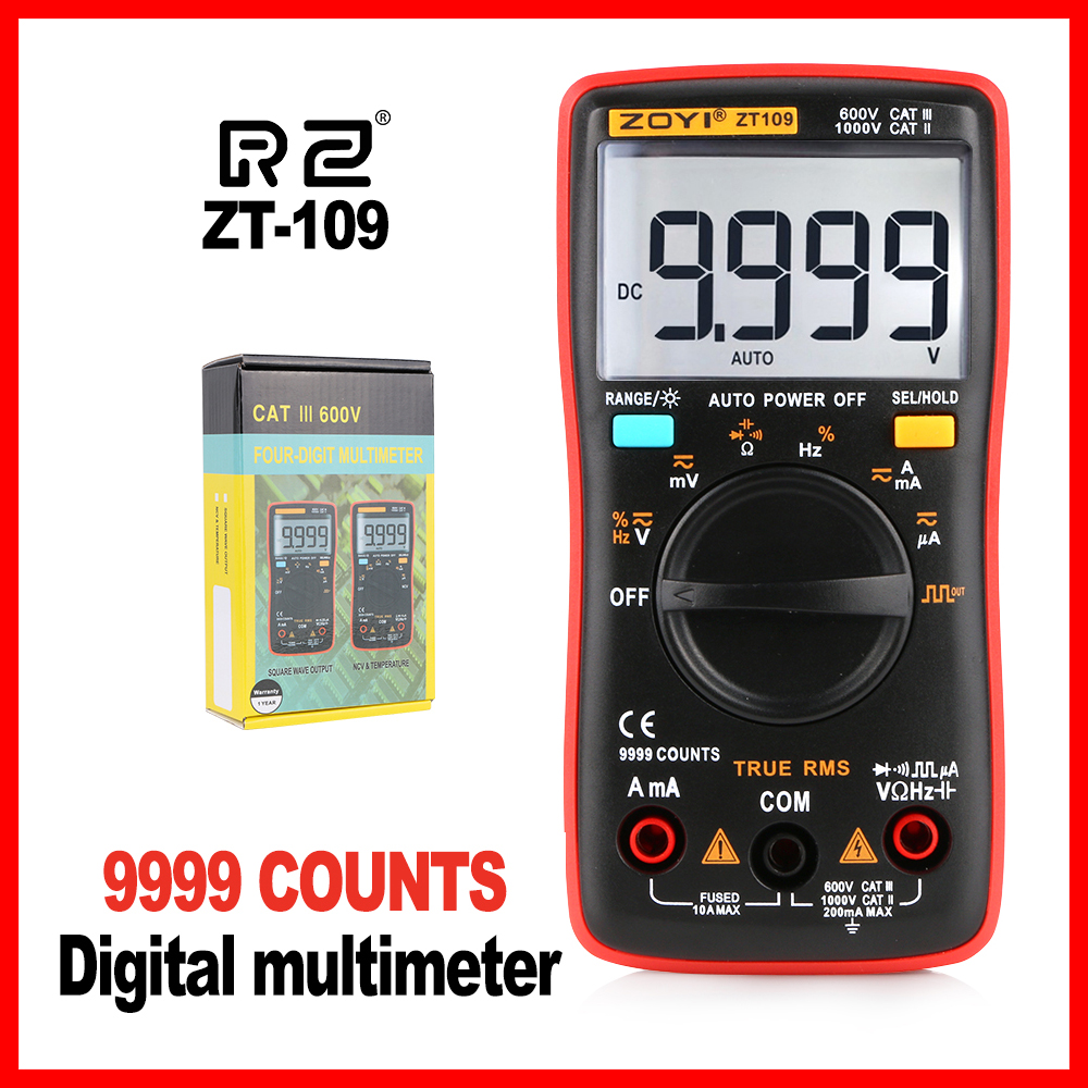 Professional Test Capacitor Multimeter Industrial Multimeter 9999 Counts Backlight LCD Display ZT109 цены