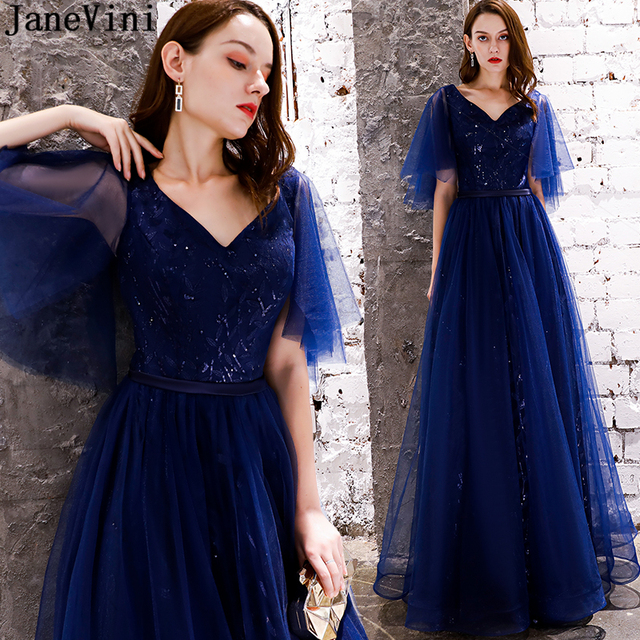eb83f99f32f89 JaneVini Sparkly Navy Blue Sequined Long Bridesmaid Dresses 2019 V Neck  Half Sleeves A Line Floor Length Tulle Formal Prom Gowns