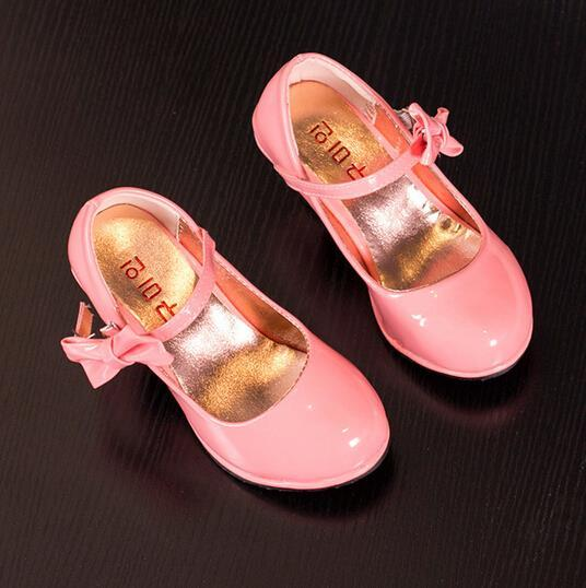 2016 new spring children shoes girls shoes beautiful bow-knot girls dress shoes kids fashion pu leather shoes girls high heels