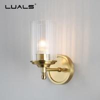 Luces de pared de cobre de lujo Post-Lámpara de pared moderna pasillo de dormitorio lámpara de pared Simple lámparas de pared interior Art decó iluminación
