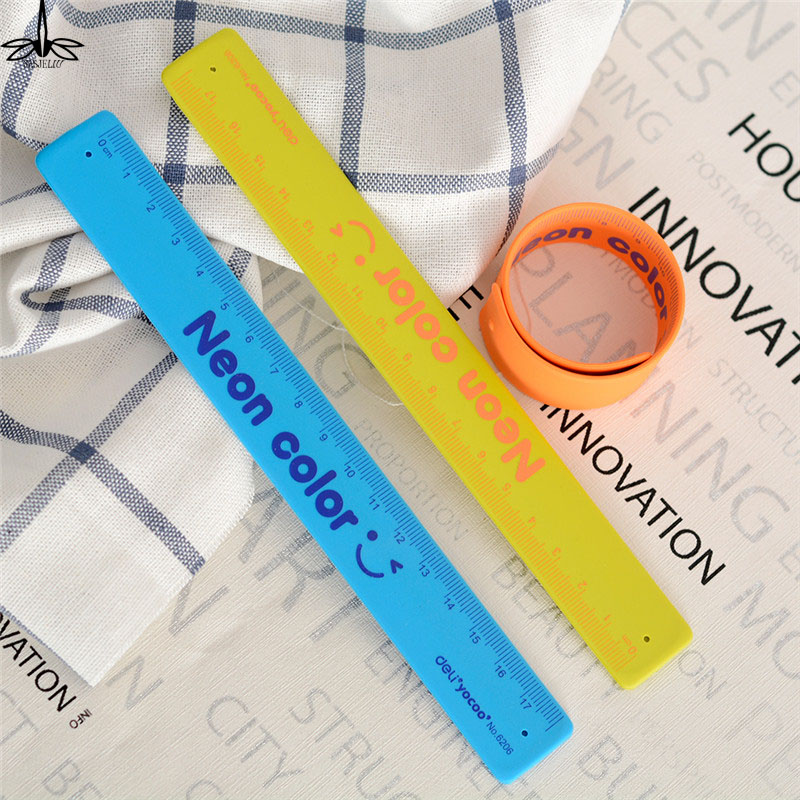 1 Piece Bracelet School Ruler Candy Color Portable Silicone Slap Bracelet Party Favors Shatterproof Ruler Wristband