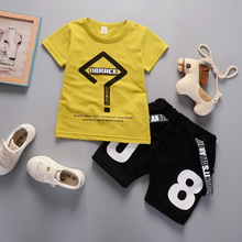 BibiCola 2018 New Summer Boys Clothing Sets Kids Boys Geometry Tops T-shirt+Digital Shorts 2 Pcs Boys Sports Suit