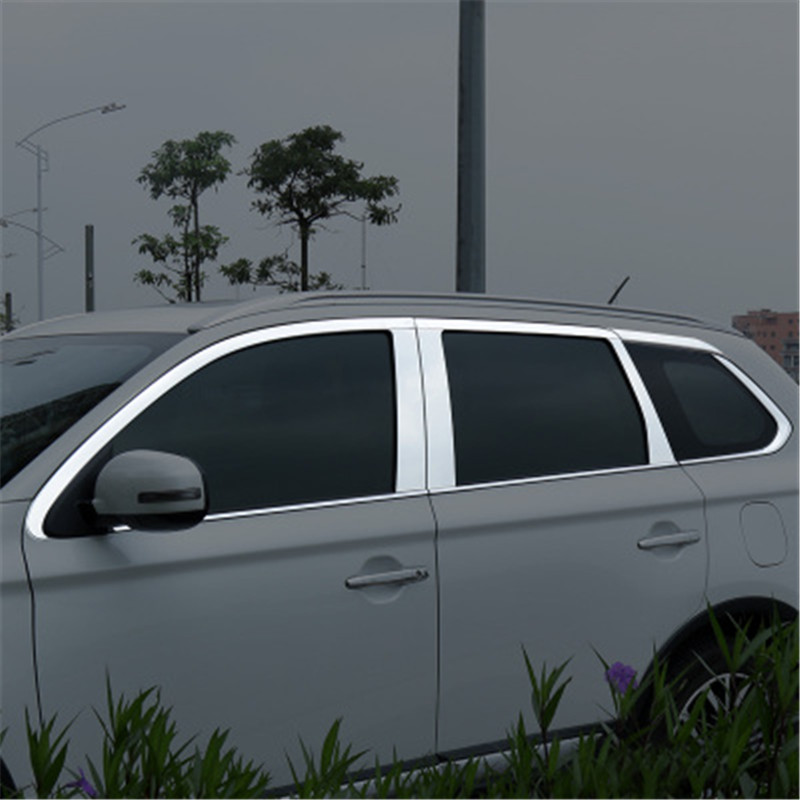 Car accessories Stainless Steel Door Window Trims window trim cover trim For Mitsubishi Outlander 2013 2019 Car covers Chromium Styling     - title=