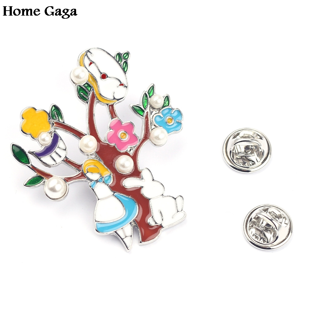 Badges Creative 10pcs/lot Homegaga Alice In Wonderland Zinc Tie Cartoon Funny Pins Backpack Brooches For Men Women Hat Decoration Badges D1122 Home & Garden