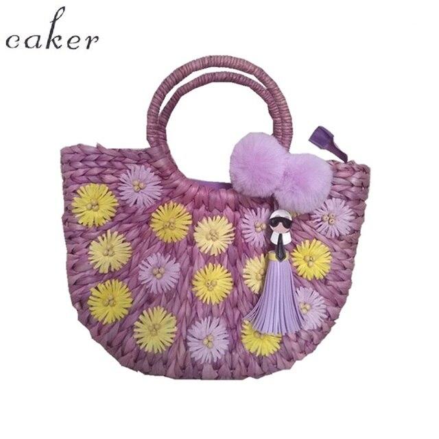 Caker Brand 2018 Women Straw Handbag Large Big Bag Beaded Flower Cartoon  Tassel Handbags Purple Colorful