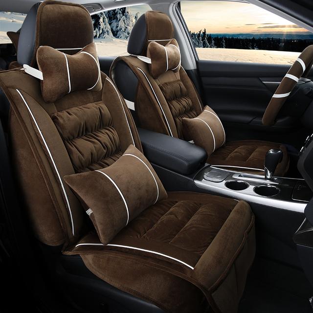 3D de la Felpa del Invierno Cubierta de Asiento de Coche Cojín Para Hyundai i30 ix25 ix35 Elantra Sonata Santa Fe Tucson 2016 Solaris Veloster acento