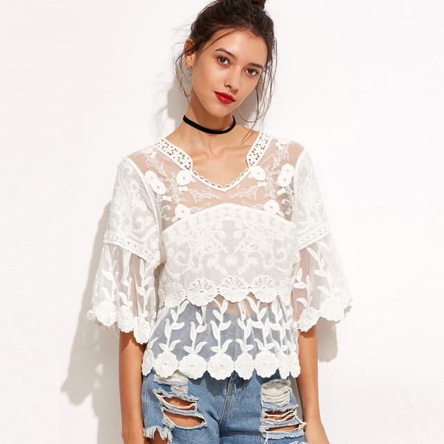 48055c72a16 Floral Embroidered Blouse Women White Lace Crochet Blouses Tops Ladies  Summer Bohemian Flower Tunic Shirt Beach