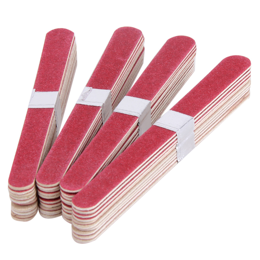 40pcs/Lot Nail Art Manicure Buffer Sanding Nail Files Wood Crescent Sandpaper Grit Manicure Device Nail Art Decorations Tool